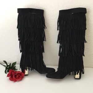 BRIAN ATWOOD Palazzo Suede Fringe Boots-NWOT